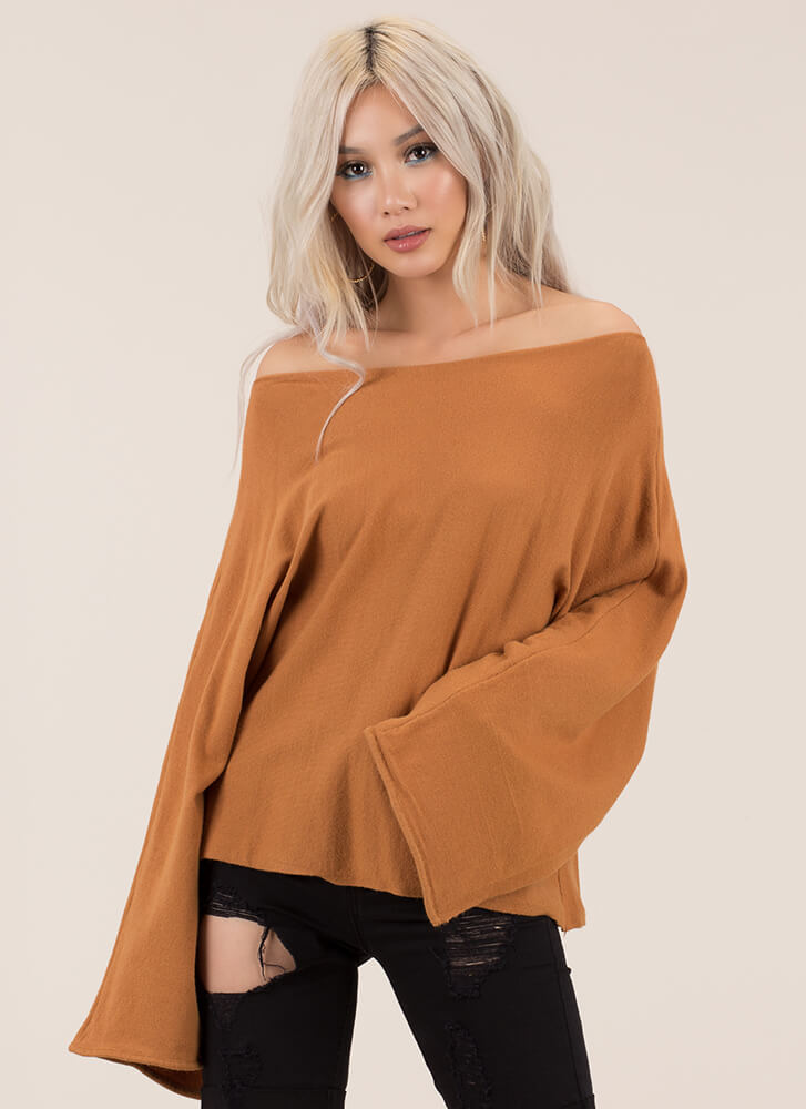 Winging It Flare-Sleeve Knit Sweater BROWN