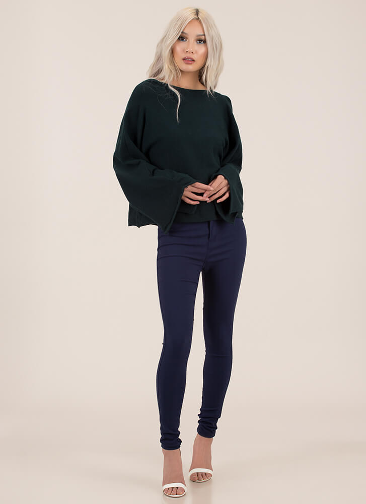 Winging It Flare-Sleeve Knit Sweater HUNTERGREEN