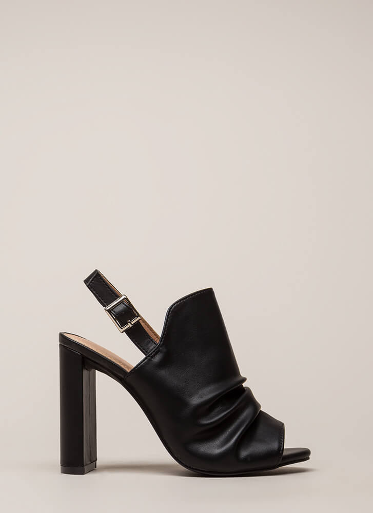 Learn To Slouch Chunky Peep-Toe Heels BLACK