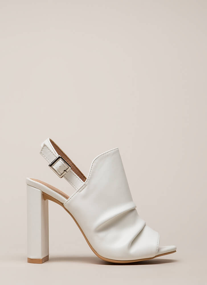 Learn To Slouch Chunky Peep-Toe Heels WHITE