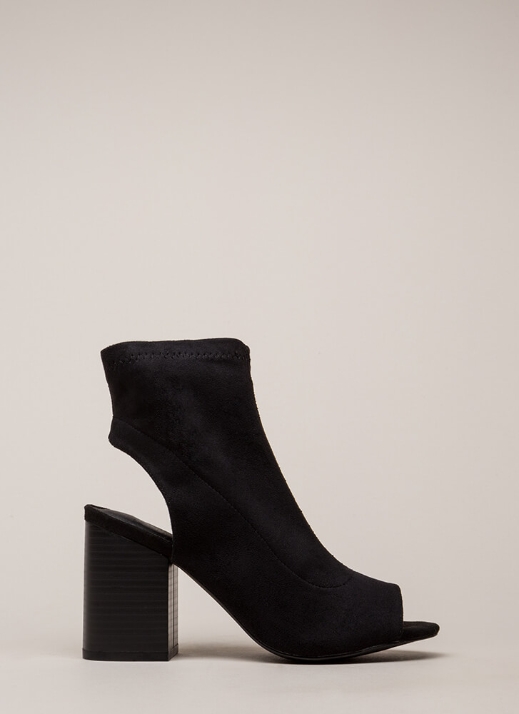 A Cut Above Chunky Peep-Toe Booties BLACK