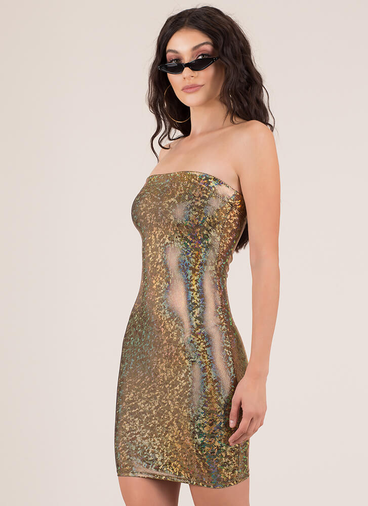 Dance The Night Away Glittery Tube Dress GOLD