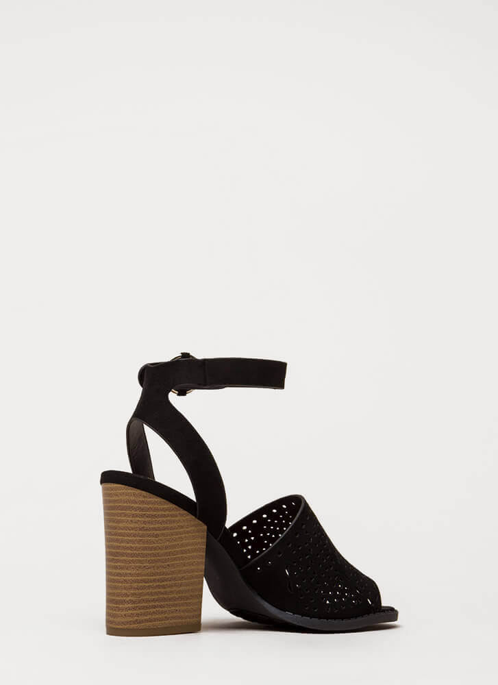 Walk In The Park Chunky Peep-Toe Heels BLACK