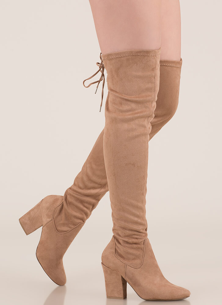 I Need Chunky Lace-Back Thigh-High Boots TAUPE