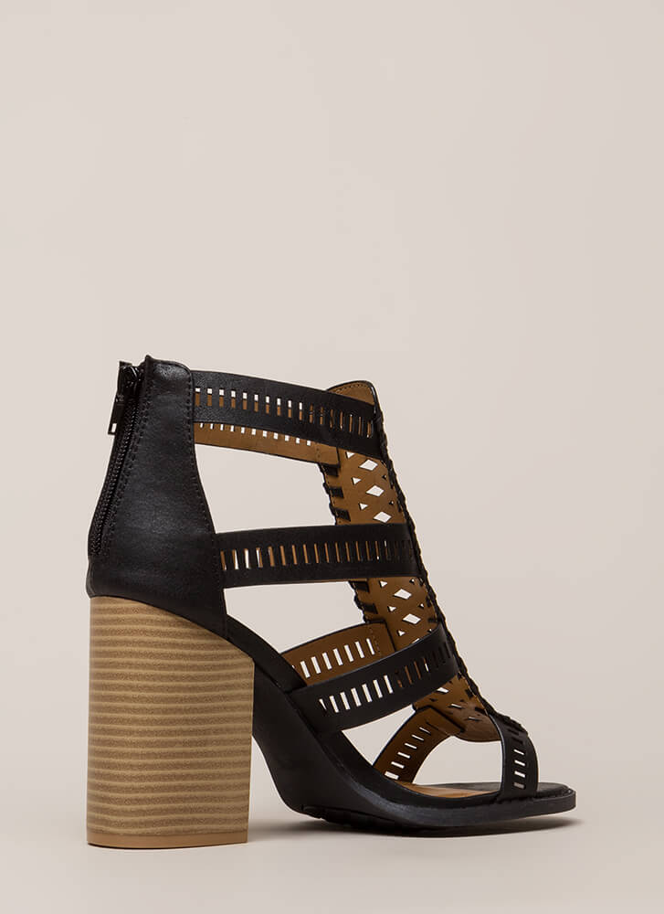 Cut Your Wins Caged Chunky Heels BLACK