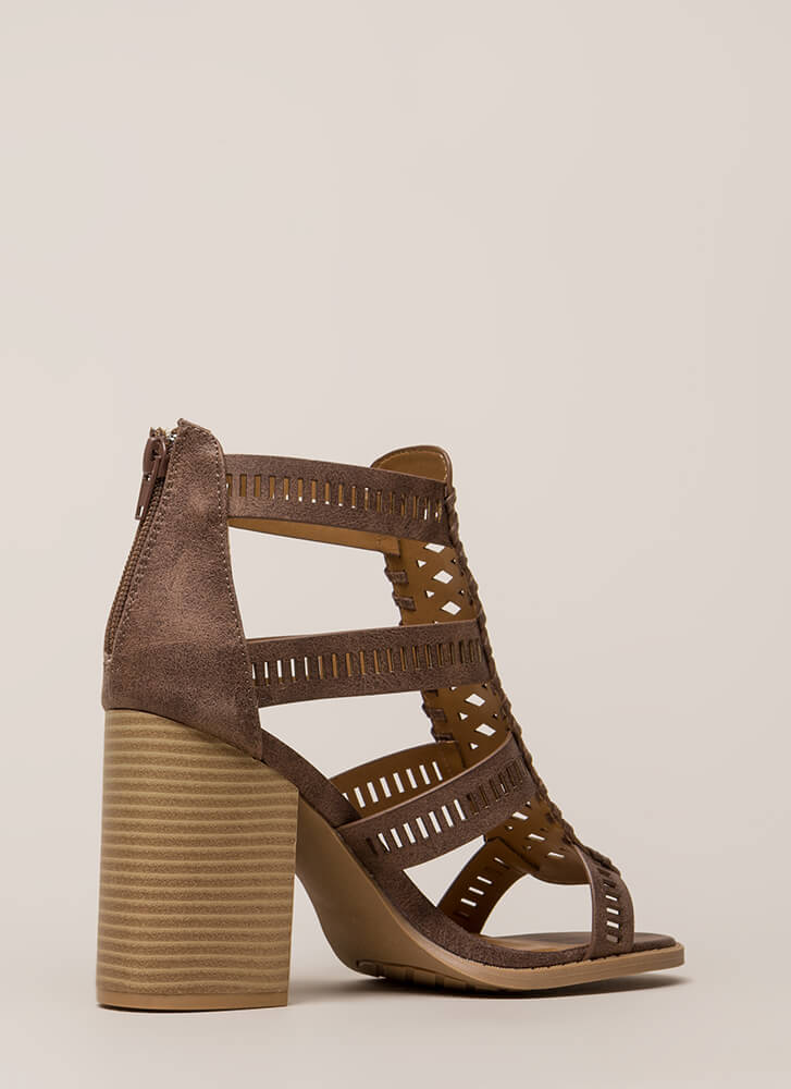 Cut Your Wins Caged Chunky Heels NUTMEG