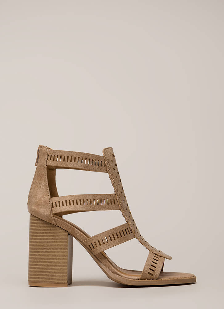 Cut Your Wins Caged Chunky Heels TAN