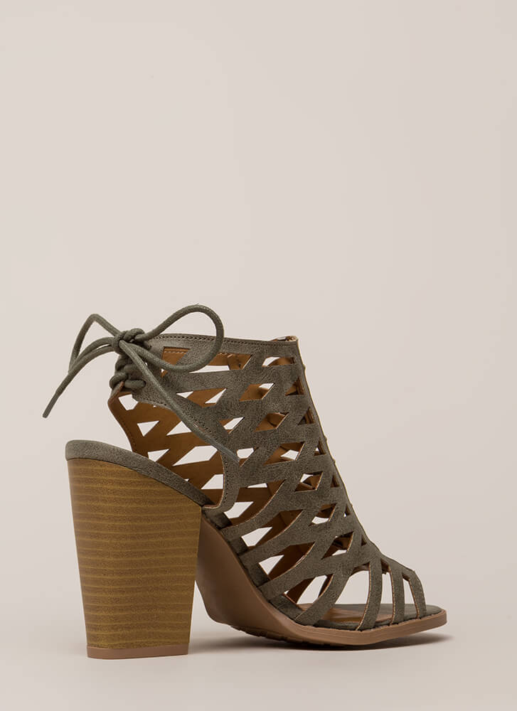 Go On Chunky Caged Lace-Back Heels KHAKI (You Saved $22)