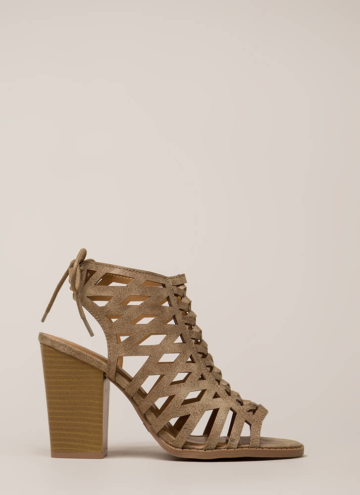 Go On Chunky Caged Lace-Back Heels TAUPE (You Saved $22)