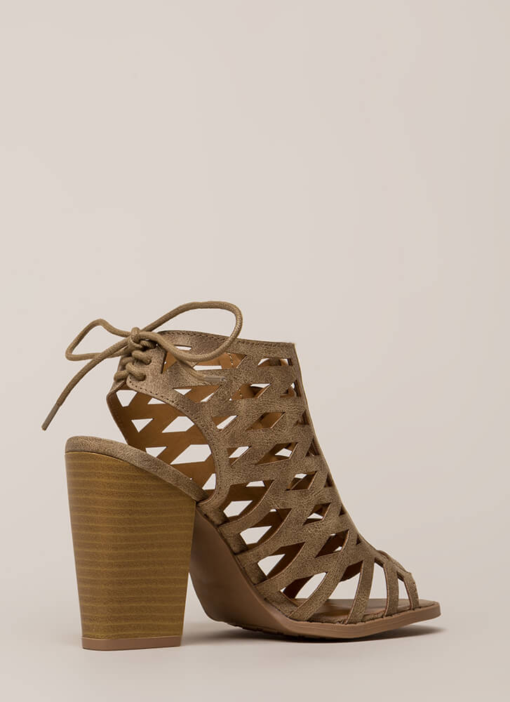 Go On Chunky Caged Lace-Back Heels TAUPE