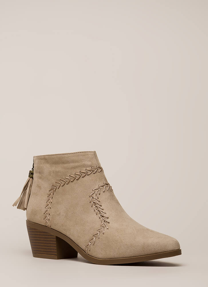 What's The Stitch Block Heel Booties LTTAUPE (You Saved $21)