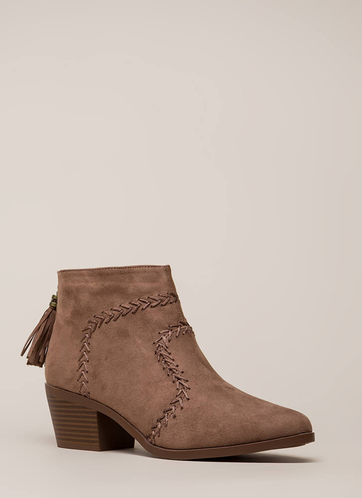 What's The Stitch Block Heel Booties NUTMEG (You Saved $28)