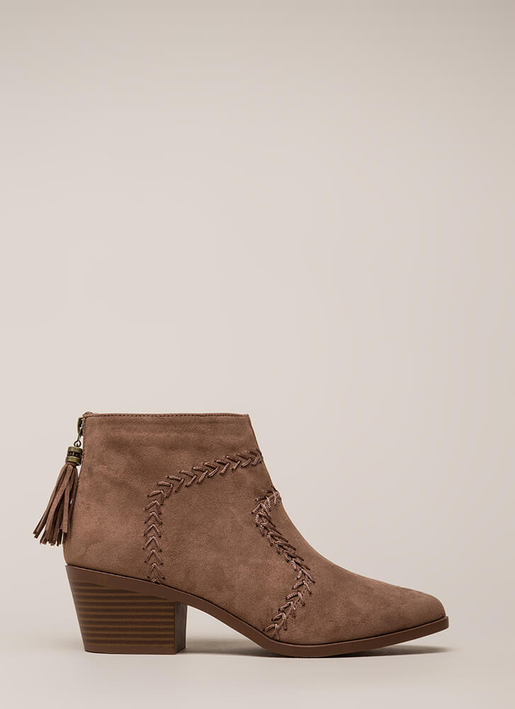 What's The Stitch Block Heel Booties NUTMEG (You Saved $21)