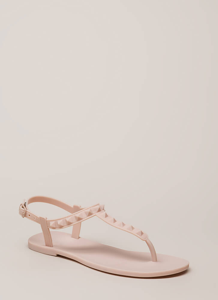 Matte Maker Studded Jelly Sandals NUDE