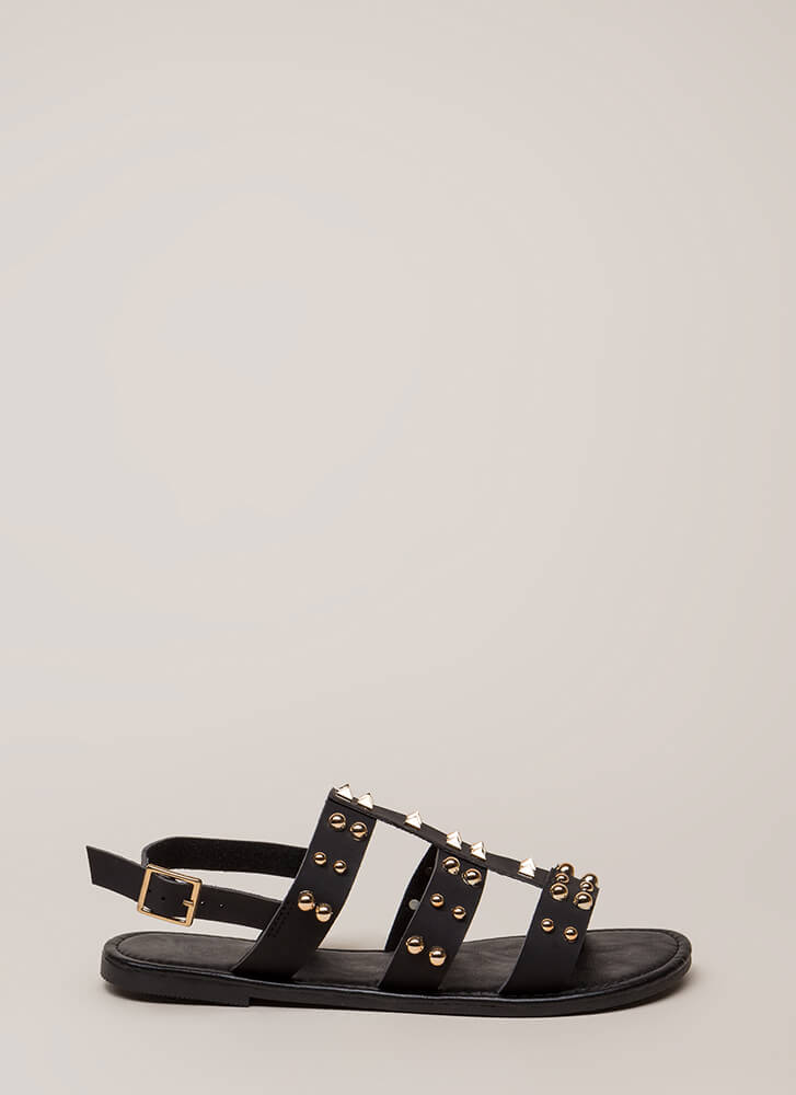 Winning Edge Studded Strappy Sandals BLACK