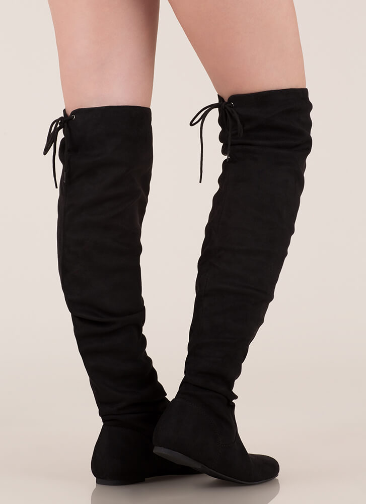 Flat And Happy Tied Thigh-High Boots BLACK