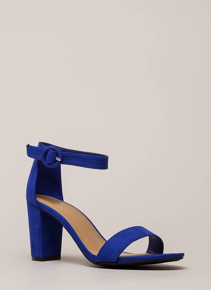 Strike A Pose Chunky Faux Suede Heels ELECTRICBLUE