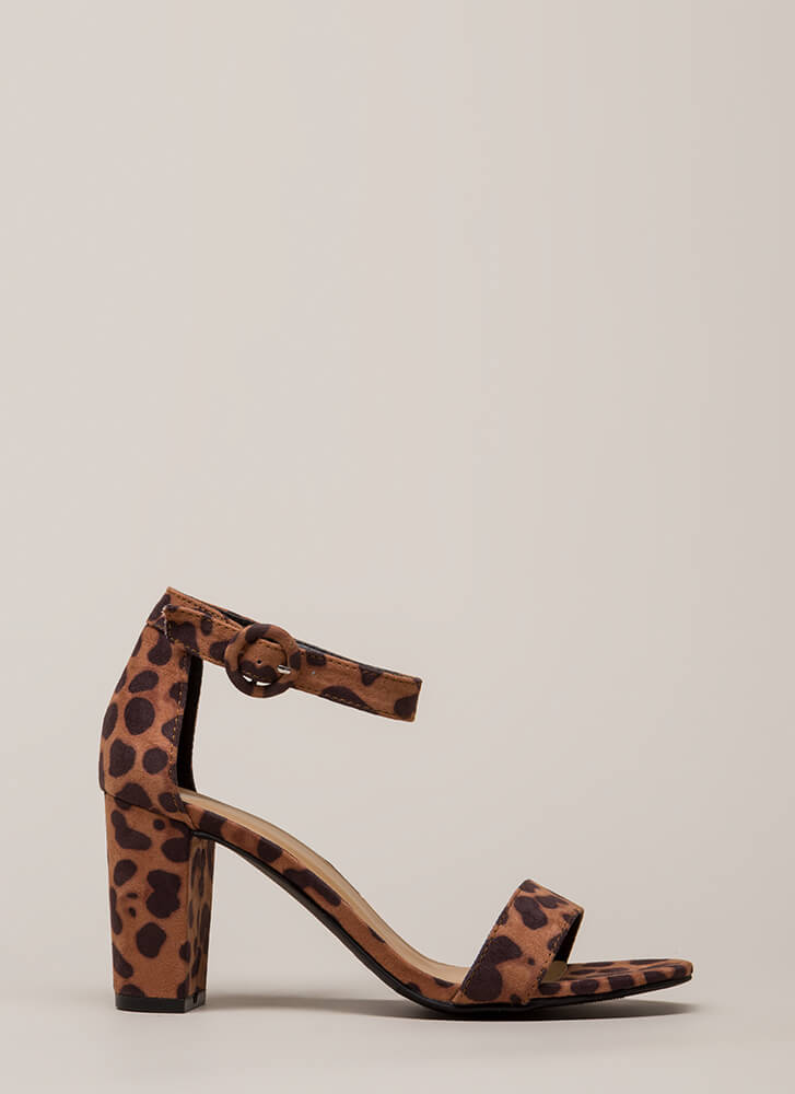 Strike A Pose Chunky Faux Suede Heels LEOPARD