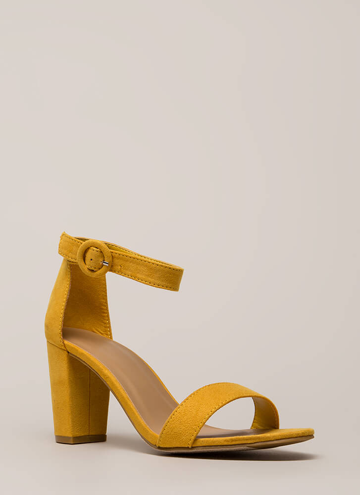 Strike A Pose Chunky Faux Suede Heels MARIGOLD