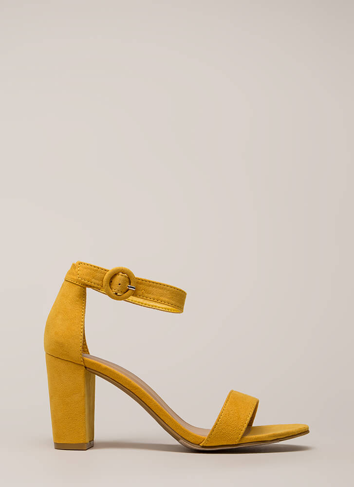 Strike A Pose Chunky Faux Suede Heels MARIGOLD (You Saved $16)