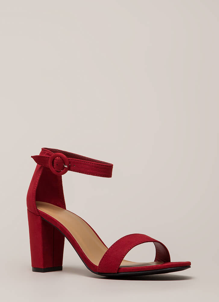 Strike A Pose Chunky Faux Suede Heels RED