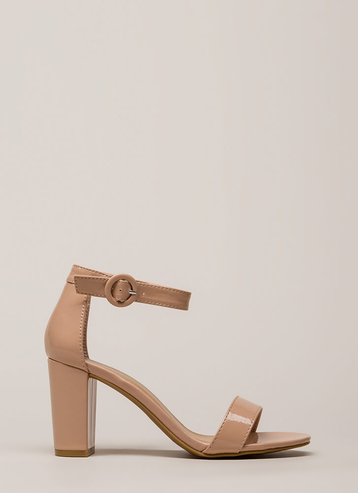 Strike A Pose Chunky Faux Patent Heels NUDE