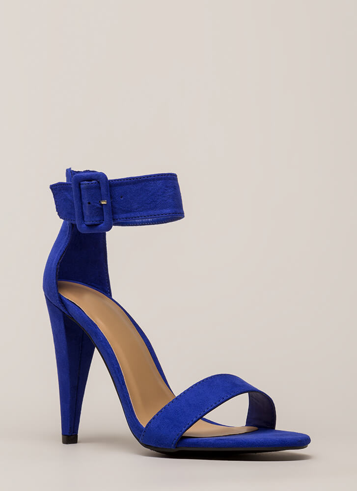 Smashing Time Strappy Faux Suede Heels ELECTRICBLUE