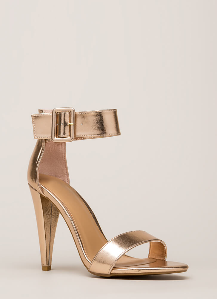 Smashing Time Strappy Metallic Heels ROSEGOLD
