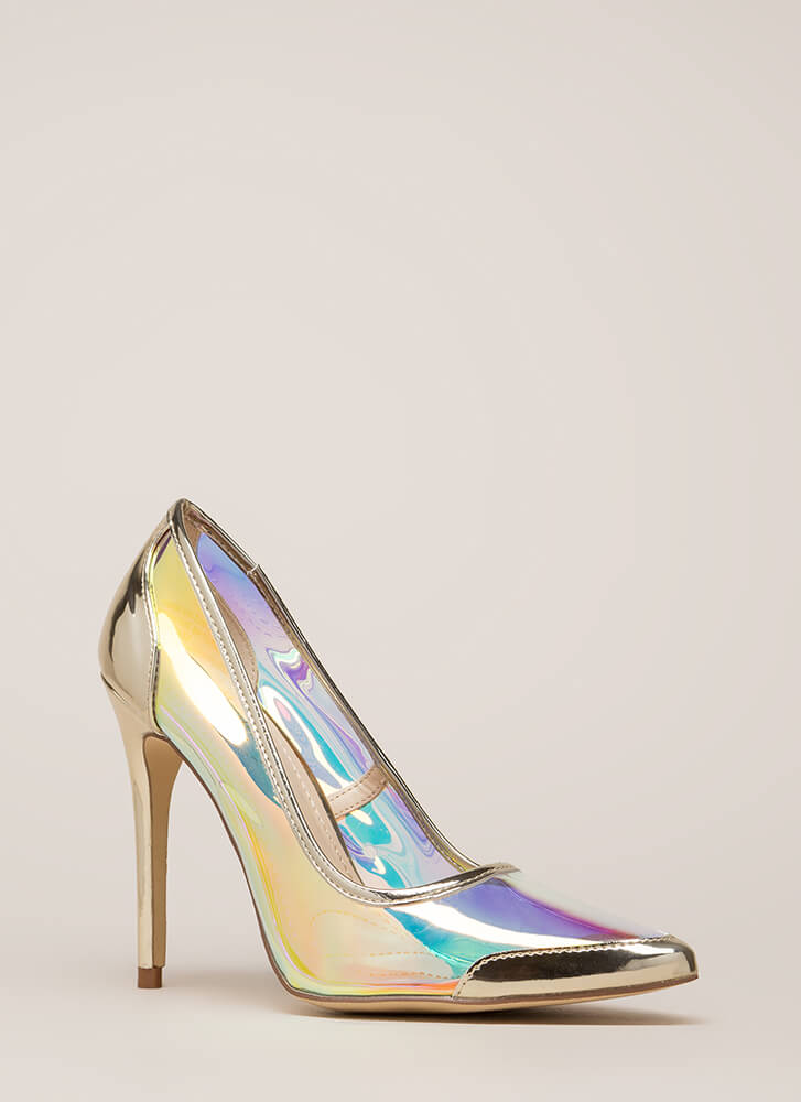 Clear Agenda Pointy Iridescent Pumps IRIDESCENT
