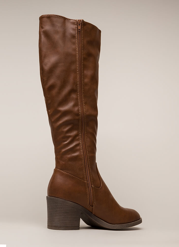 Show Quality Block Heel Riding Boots CHESTNUT