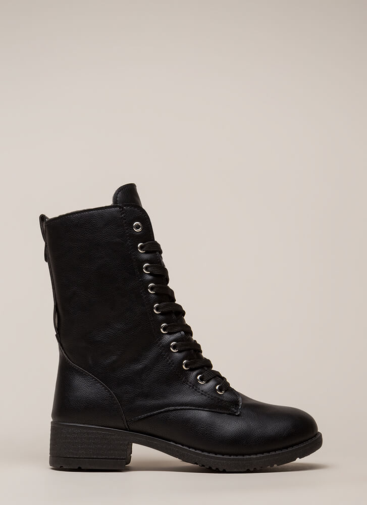 Silver Lining Faux Leather Combat Boots BLACK