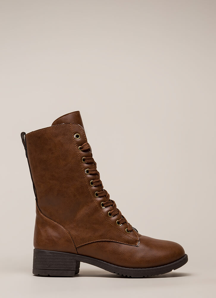 Silver Lining Faux Leather Combat Boots CHESTNUT