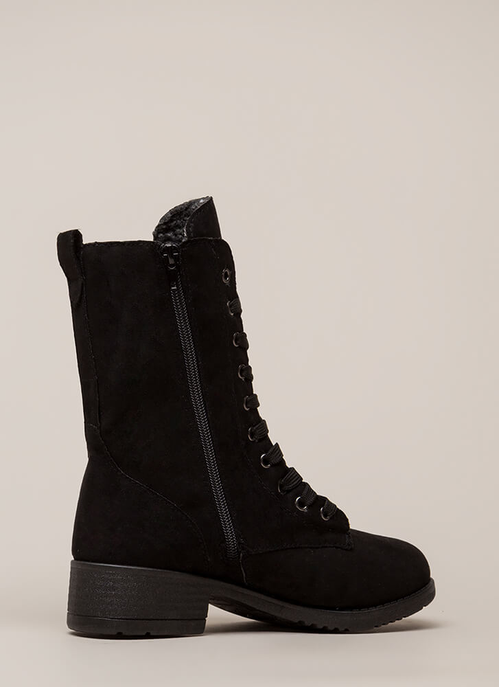 Silver Lining Faux Suede Combat Boots BLACK