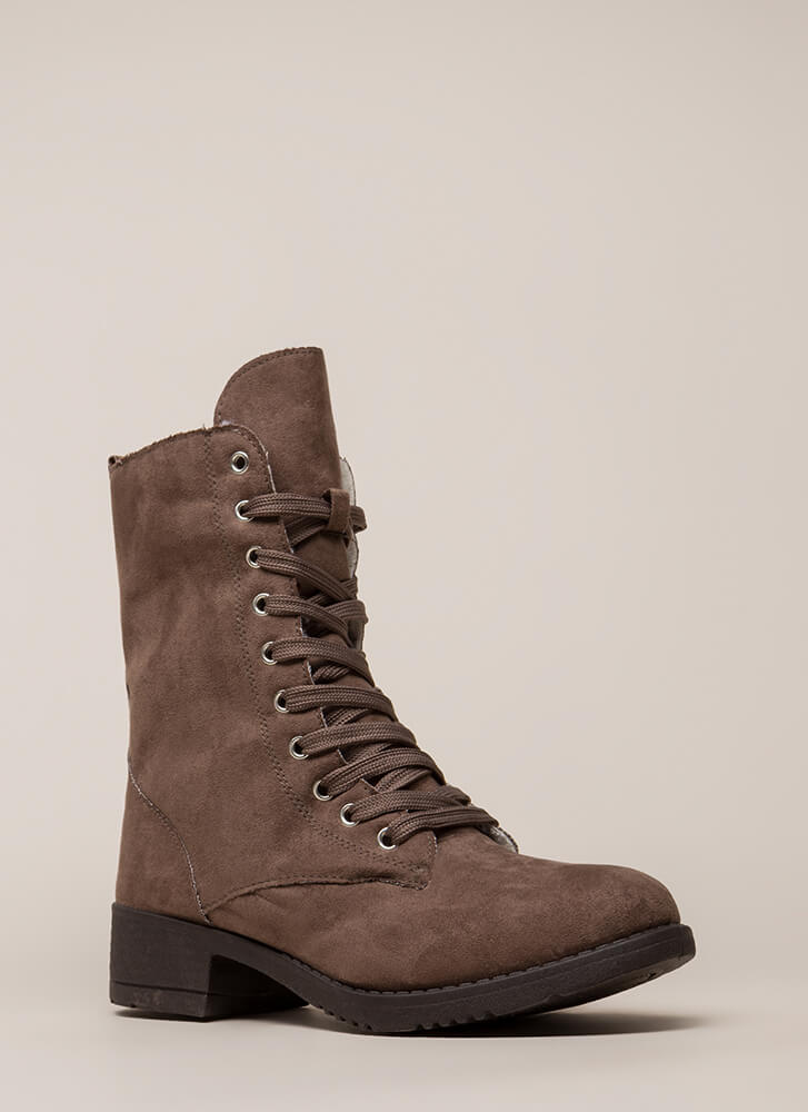 Silver Lining Faux Suede Combat Boots TAUPE