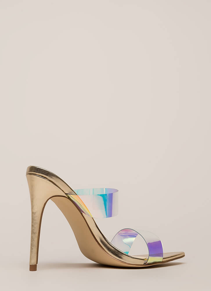 Outshine Strappy Holographic Mule Heels IRIDESCENT