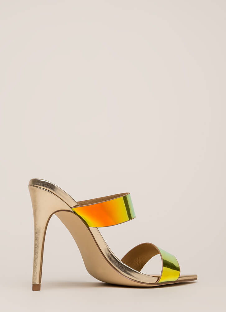 Outshine Strappy Holographic Mule Heels MERMAID