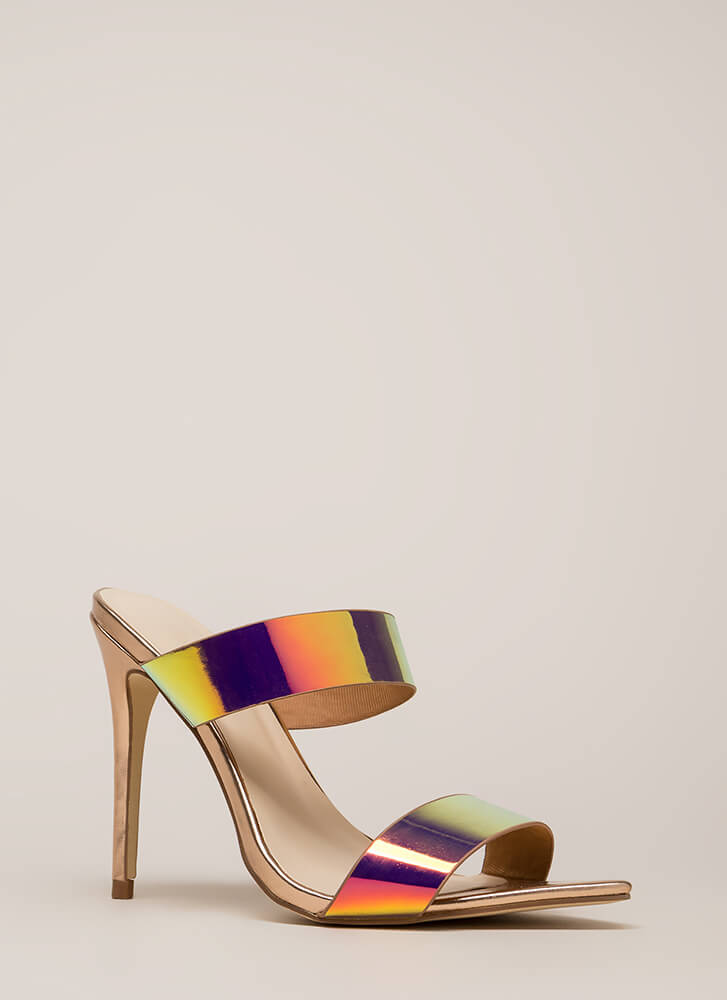 Outshine Strappy Holographic Mule Heels UNICORN