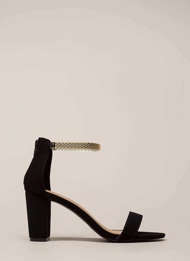 Eye Of The Panther Chain Chunky Heels BLACK