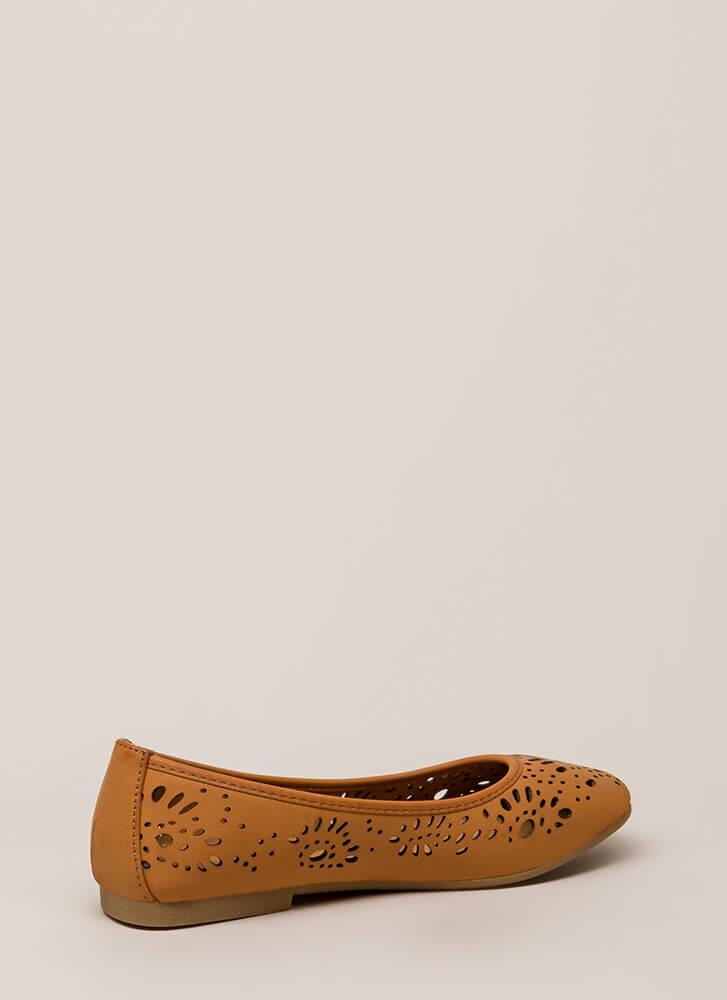 Open Your Eyelets Cut-Out Ballet Flats TAN