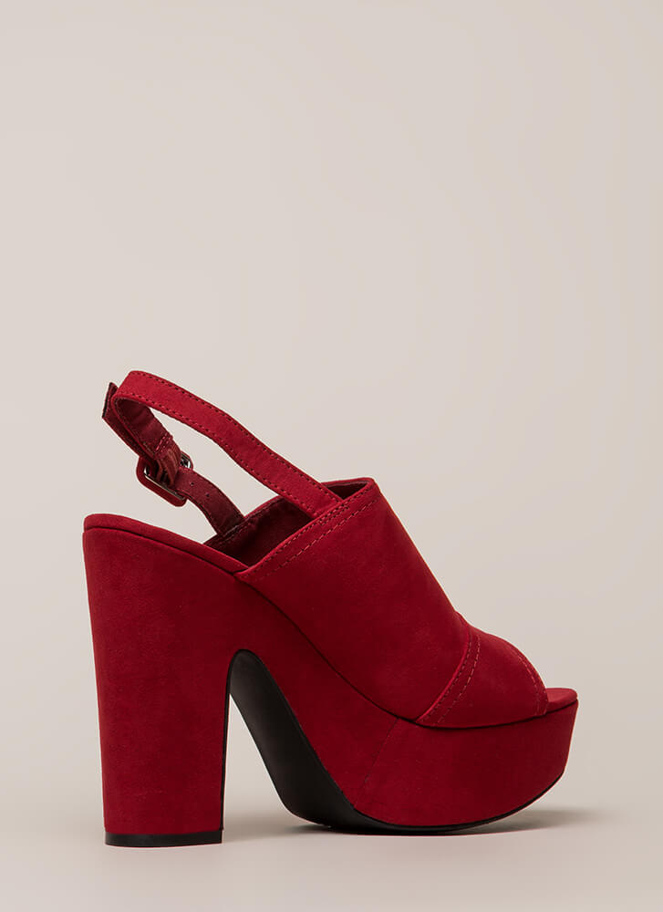 Hit My Groove Chunky Peep-Toe Platforms RED
