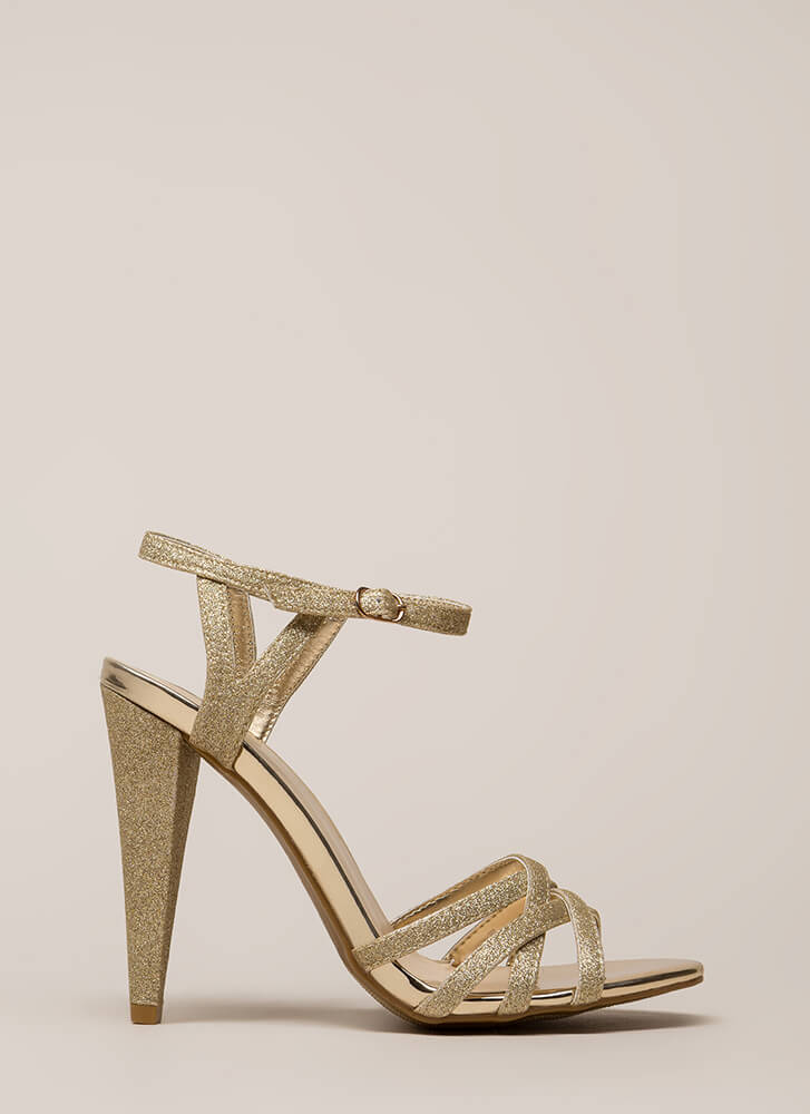 Glam In Glitter Strappy Metallic Heels GOLD