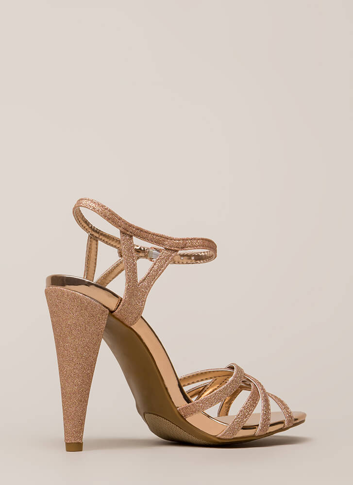 Glam In Glitter Strappy Metallic Heels ROSEGOLD