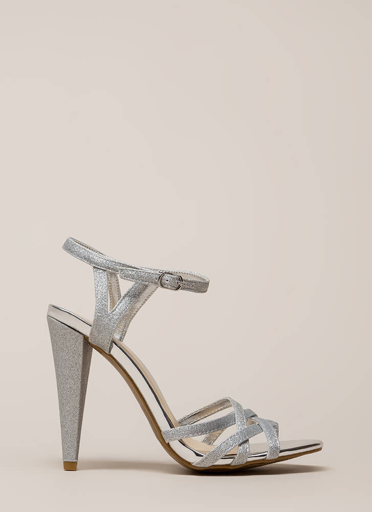 Glam In Glitter Strappy Metallic Heels SILVER