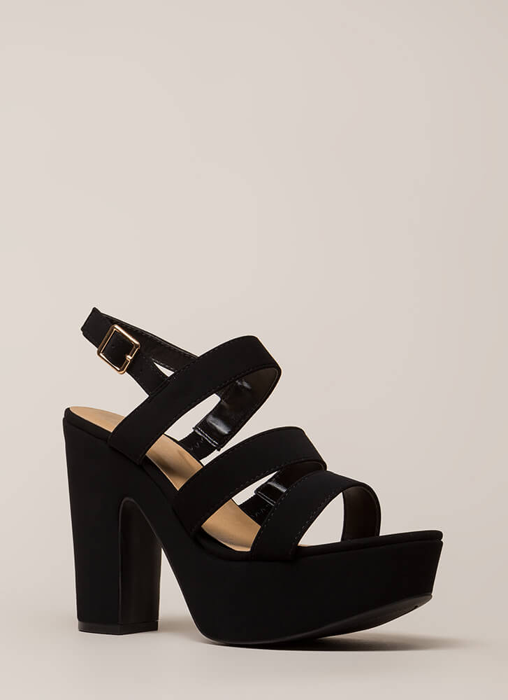 Three Straps You're Out Chunky Platforms BLACK