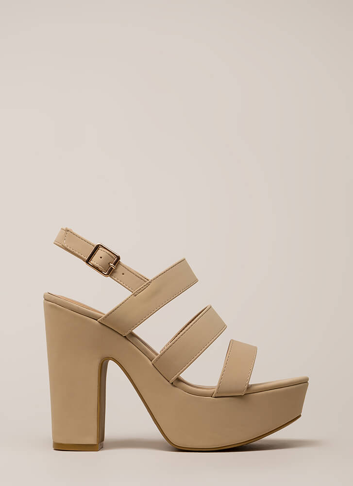 Three Straps You're Out Chunky Platforms NUDE