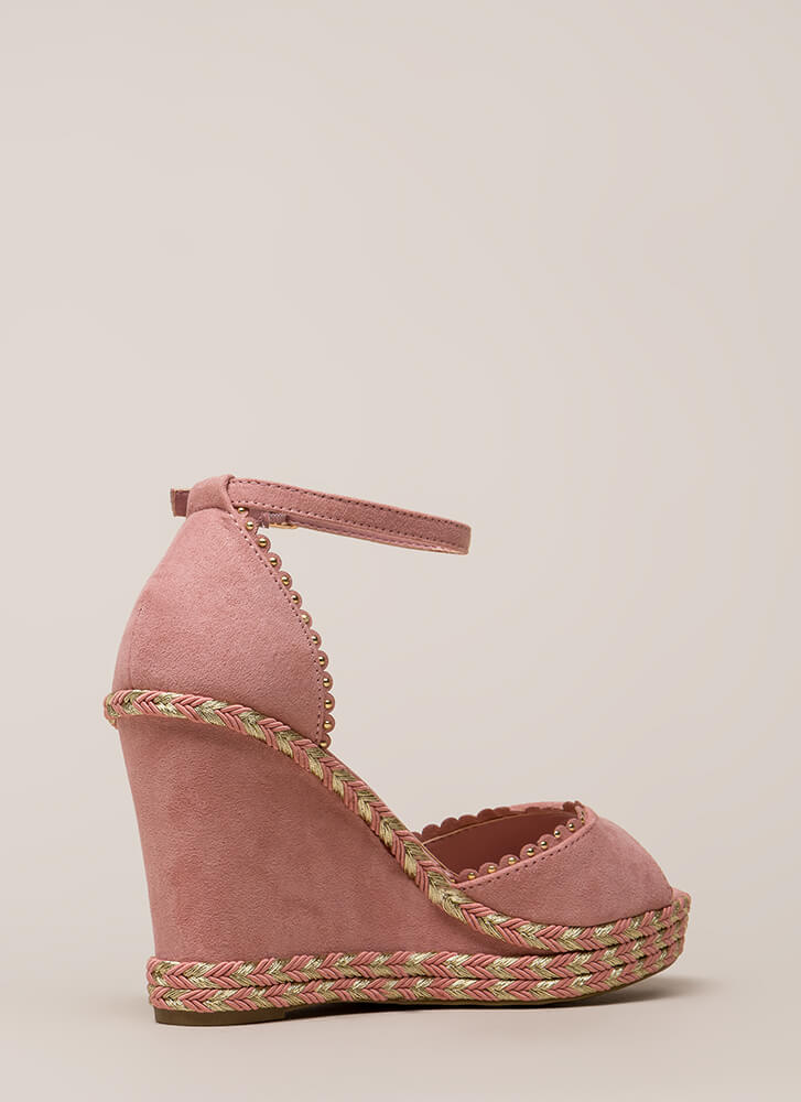 Roped In Peep-Toe Platform Wedges DKBLUSH