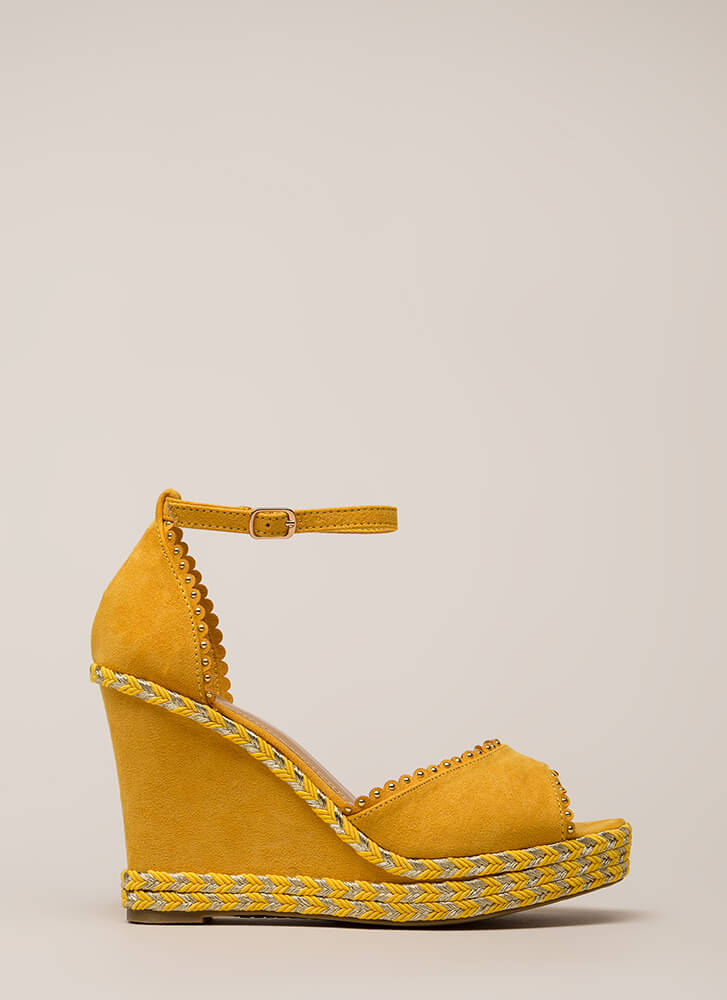 Roped In Peep-Toe Platform Wedges MARIGOLD