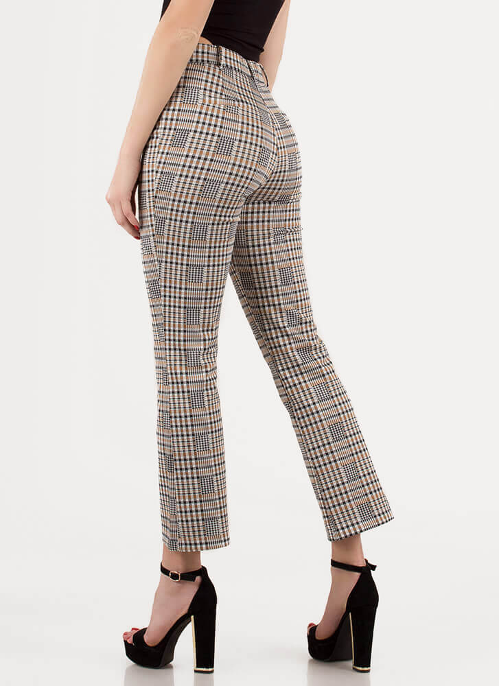 Retro Babe Cropped Plaid Trousers TAUPE