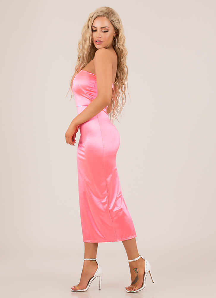 Neon Lights Strapless Satin Dress NEONPINK
