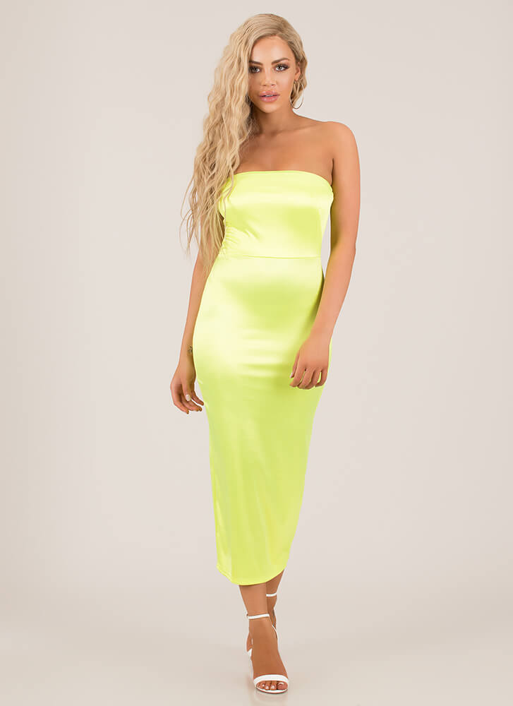 Neon Lights Strapless Satin Dress NEONYELLOW
